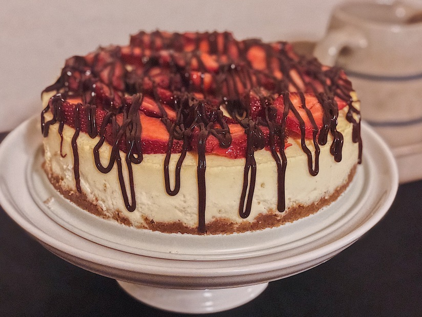 Poteet Strawberry Cheesecake with ChocolateDrizzle