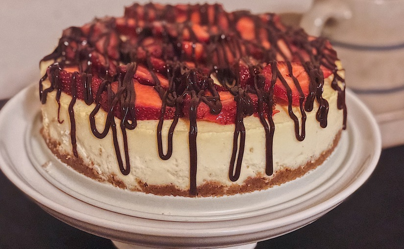 Poteet Strawberry Cheesecake with Chocolate Drizzle