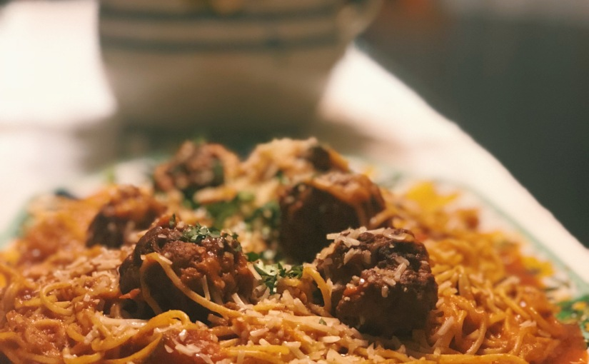 Spicy Pork Meatballs with Spaghetti